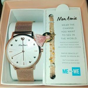 NIB Mon Amie watch and bracelet gift set